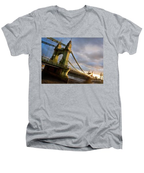 Men's V-Neck T-Shirt featuring the photograph Hammersmith Bridge In London by Peta Thames