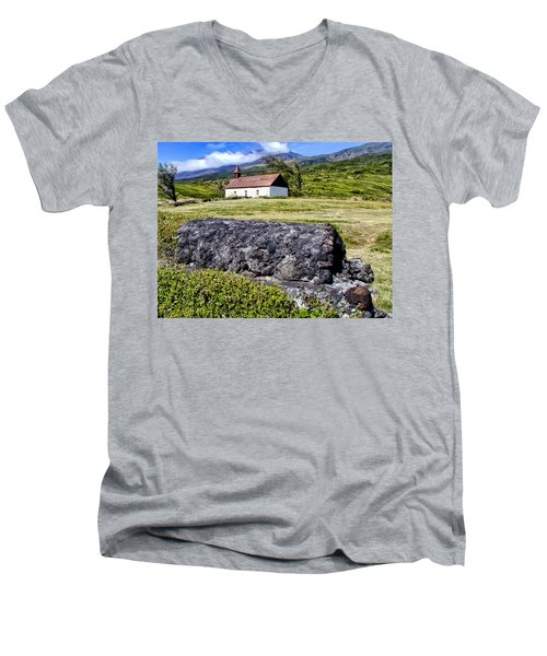Men's V-Neck T-Shirt featuring the photograph Hana Church 3 by Dawn Eshelman
