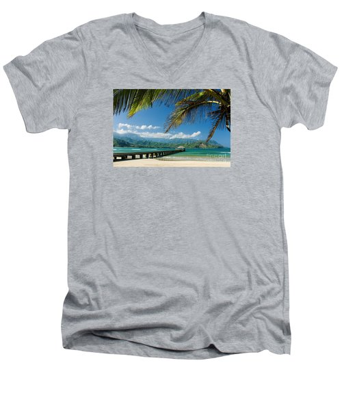 Hanalei Pier And Beach Men's V-Neck T-Shirt by M Swiet Productions