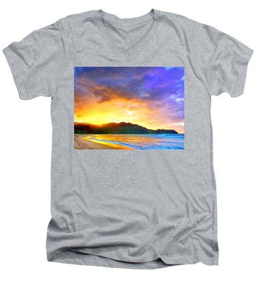 Hanalei Sunset Men's V-Neck T-Shirt by Dominic Piperata