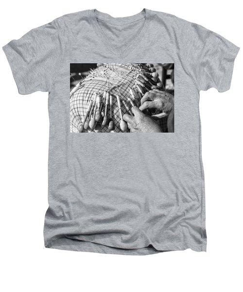 Handmade Lace Work Men's V-Neck T-Shirt