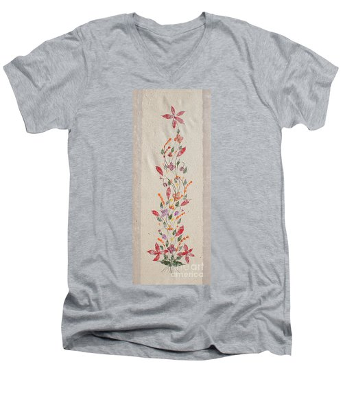 Men's V-Neck T-Shirt featuring the photograph handmade paper from Madagascar 2 by Rudi Prott