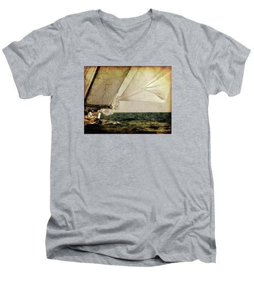 Men's V-Neck T-Shirt featuring the photograph Hanged On Wind In A Mediterranean Vintage Tall Ship Race  by Pedro Cardona