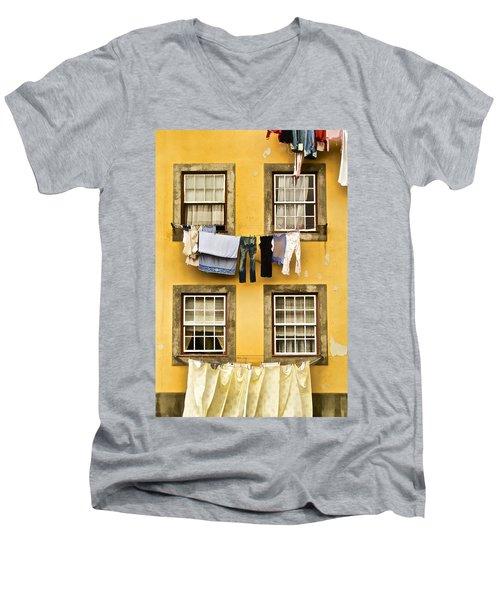 Hanging Clothes Of Old World Europe Men's V-Neck T-Shirt