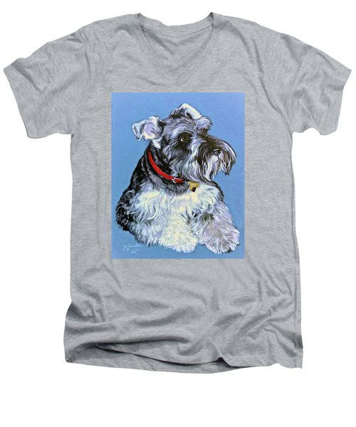 Men's V-Neck T-Shirt featuring the painting Hans The Schnauzer Original Painting Forsale by Bob and Nadine Johnston