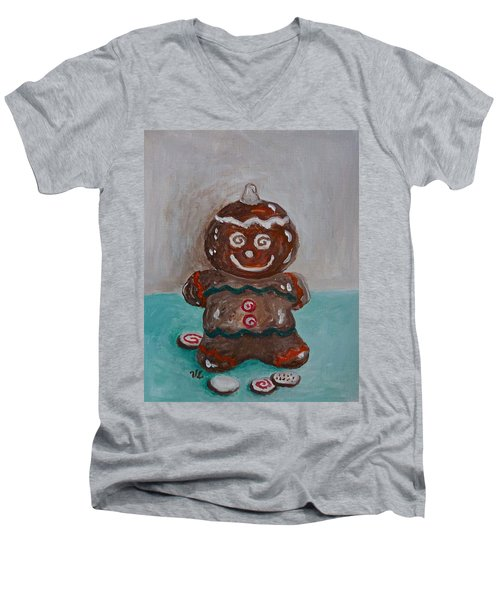 Happy Gingerbread Man Men's V-Neck T-Shirt by Victoria Lakes