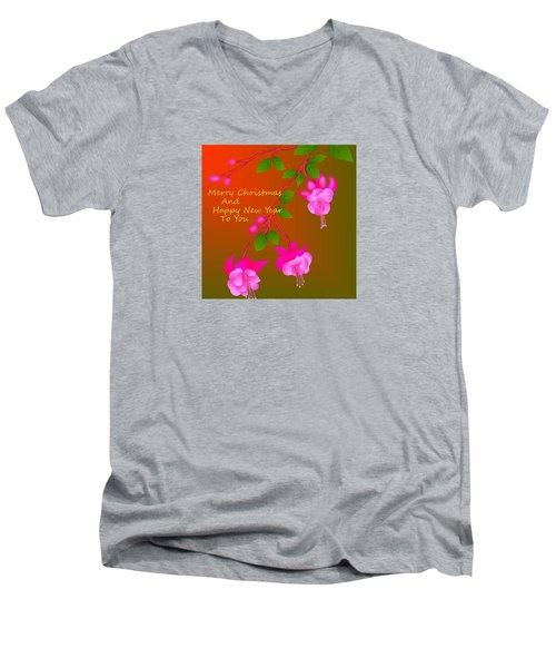 Men's V-Neck T-Shirt featuring the digital art Happy Holidays by Latha Gokuldas Panicker