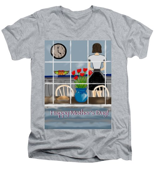 Men's V-Neck T-Shirt featuring the digital art Happy Homemaker by Christine Fournier