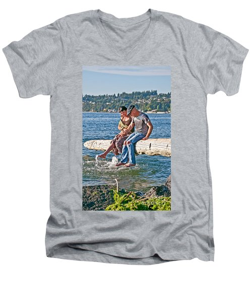 Happy Older Couple Splashing Feet In Water Art Prints Men's V-Neck T-Shirt