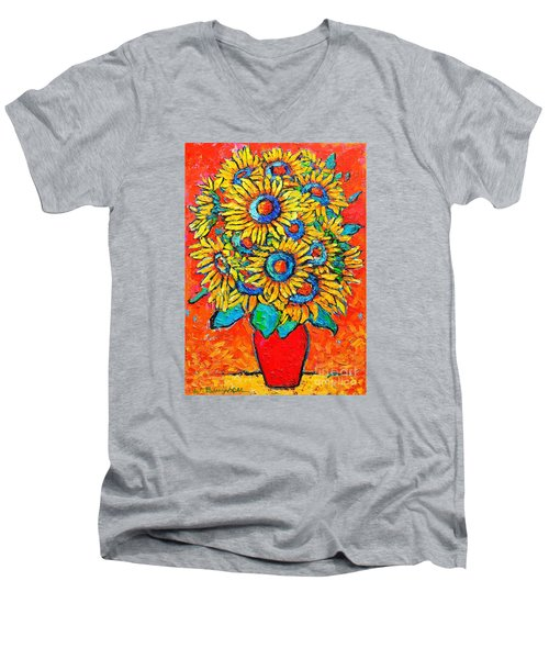 Happy Sunflowers Men's V-Neck T-Shirt by Ana Maria Edulescu