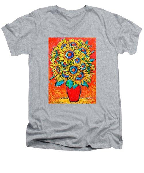Happy Sunflowers Men's V-Neck T-Shirt