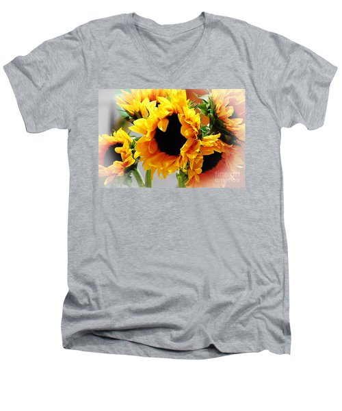 Happy Sunflowers Men's V-Neck T-Shirt