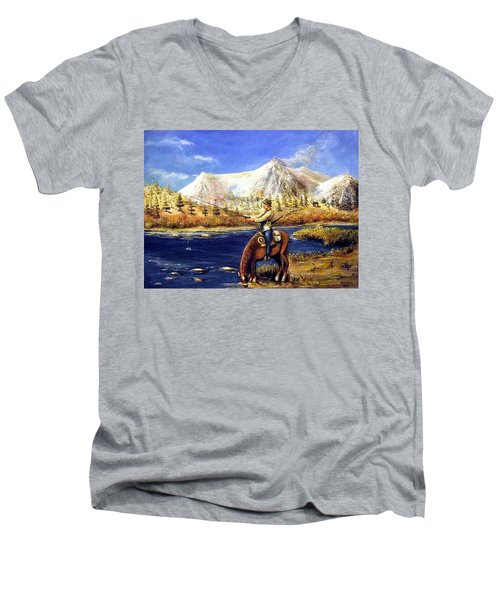 Happy Trails Men's V-Neck T-Shirt by Bernadette Krupa