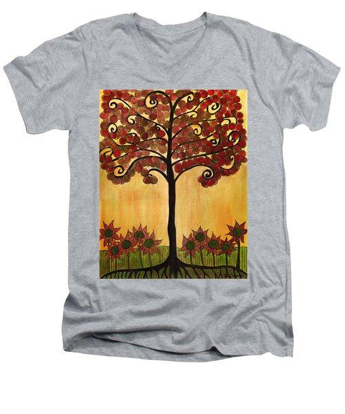 Happy Tree In Red Men's V-Neck T-Shirt