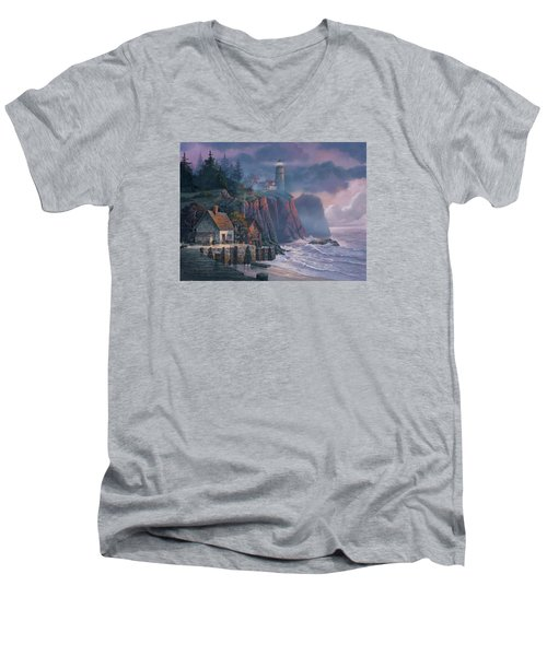 Harbor Light Hideaway Men's V-Neck T-Shirt by Michael Humphries