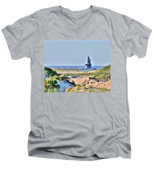 Harbor Of Refuge Lighthouse Men's V-Neck T-Shirt