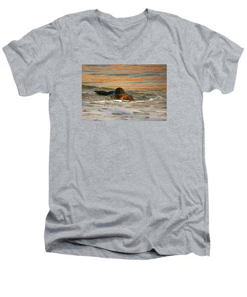 Men's V-Neck T-Shirt featuring the photograph La Jolla Seal Sunset by John F Tsumas