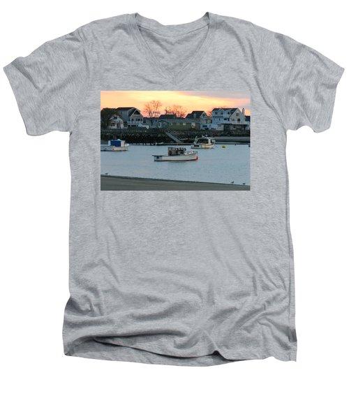 Harbor Sunset Men's V-Neck T-Shirt by Denyse Duhaime