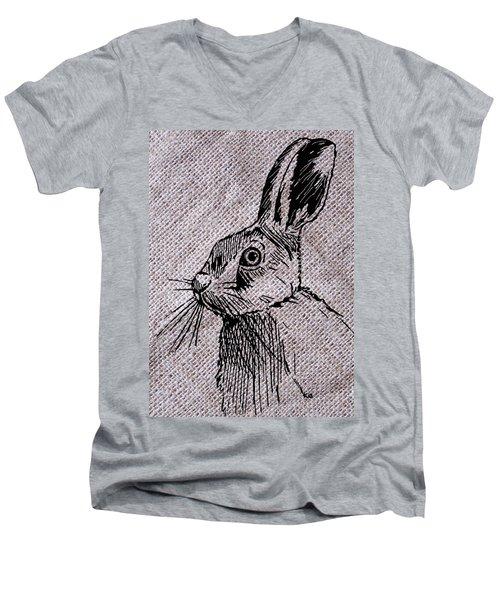 Hare On Burlap Men's V-Neck T-Shirt