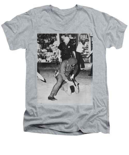 Harlem Race Riots Men's V-Neck T-Shirt by Underwood Archives