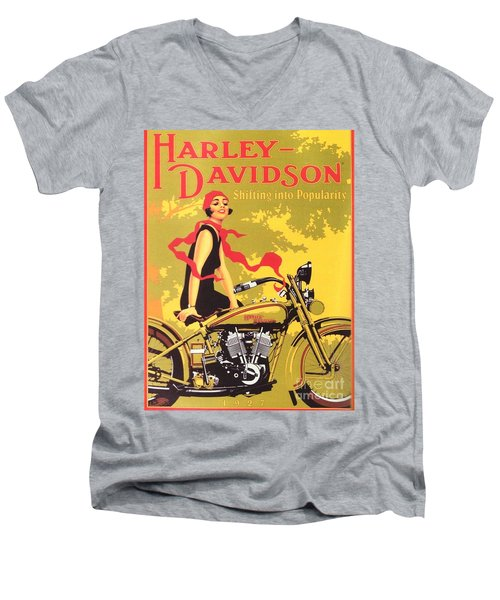 Men's V-Neck T-Shirt featuring the painting Harley Davidson 1927 Poster by Reproduction