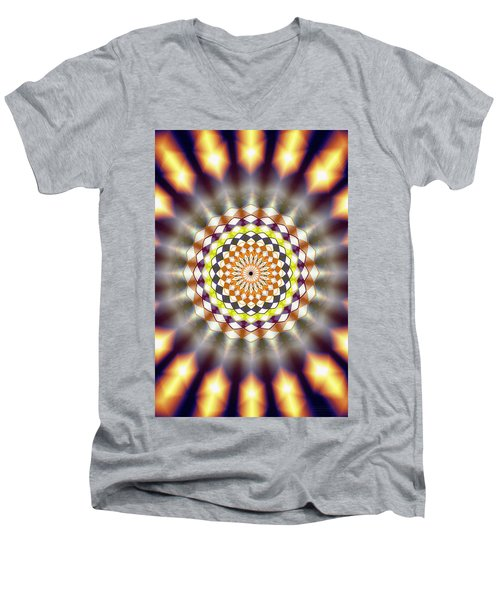 Men's V-Neck T-Shirt featuring the drawing Harmonic Sphere Of Energy by Derek Gedney