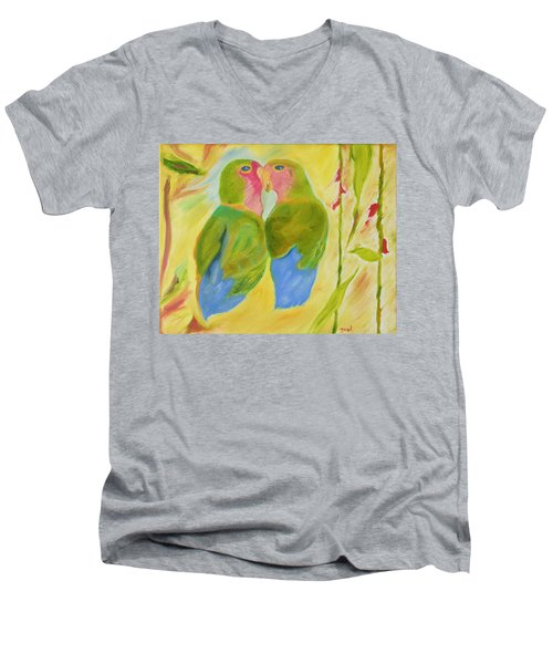 Men's V-Neck T-Shirt featuring the painting Harmony by Meryl Goudey