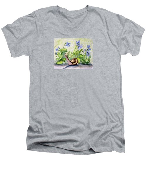 Men's V-Neck T-Shirt featuring the painting Harold In The Violets by Angela Davies