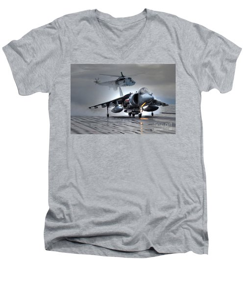 Harrier Gr9 Takes Off From Hms Ark Royal For The Very Last Time Men's V-Neck T-Shirt by Paul Fearn