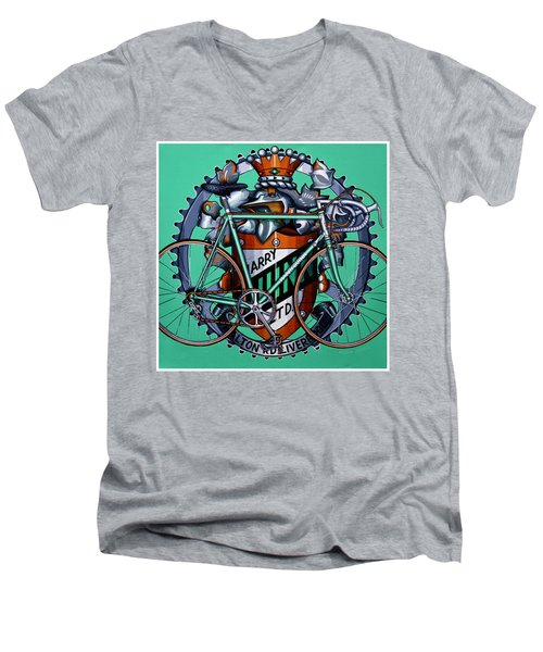 Men's V-Neck T-Shirt featuring the painting Harry Quinn by Mark Howard Jones