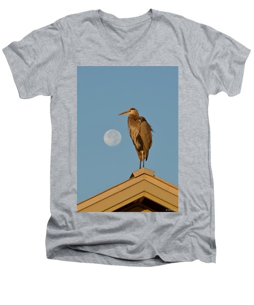 Men's V-Neck T-Shirt featuring the photograph Harry The Heron Ponders A Trip To The Full Moon by Jeff at JSJ Photography