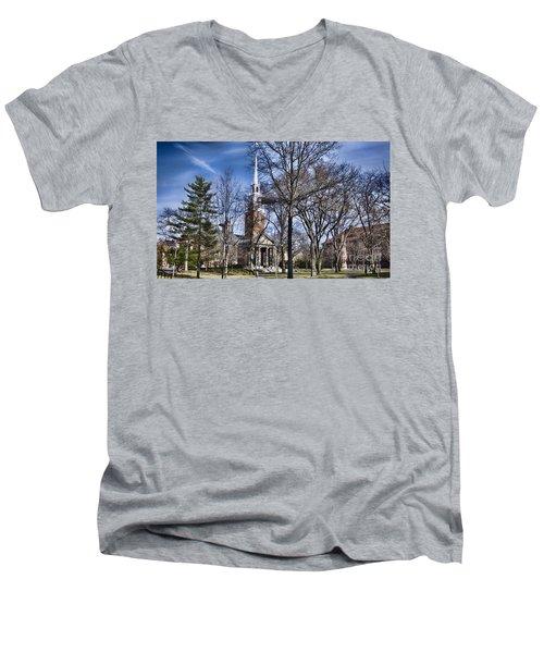 Harvard University Old Yard Church Men's V-Neck T-Shirt