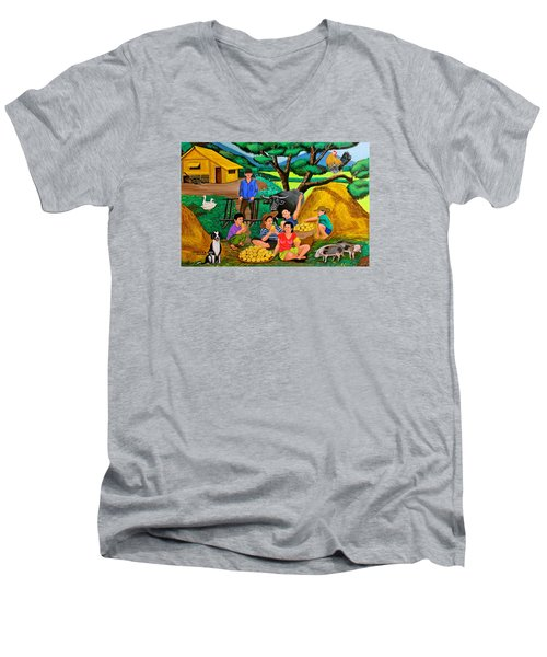 Men's V-Neck T-Shirt featuring the painting Harvest Time by Cyril Maza
