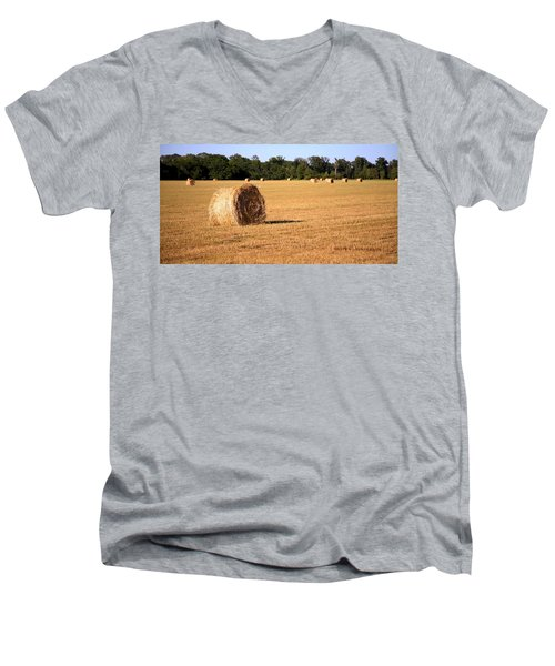 Men's V-Neck T-Shirt featuring the photograph Harvest Time by Gordon Elwell