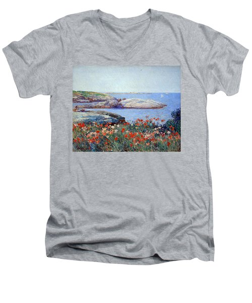 Hassam's Poppies On The Isles Of Shoals Men's V-Neck T-Shirt by Cora Wandel