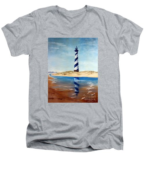 Men's V-Neck T-Shirt featuring the painting Hatteras Lighthouse by Lee Piper