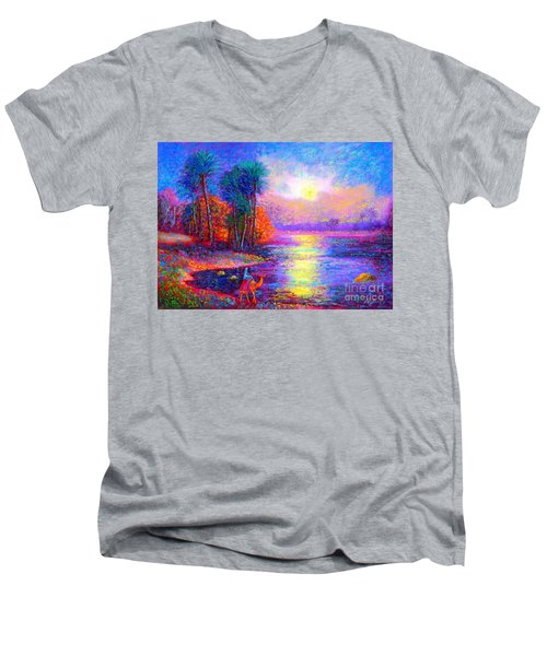 Men's V-Neck T-Shirt featuring the painting Haunting Star by Jane Small