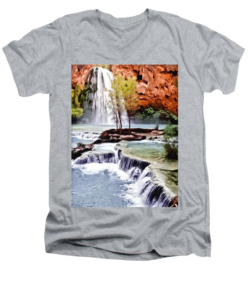 Havasau Falls Painting Men's V-Neck T-Shirt