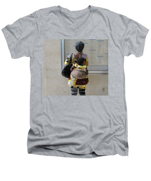 Men's V-Neck T-Shirt featuring the photograph Have Baby Will Travel by Natalie Ortiz
