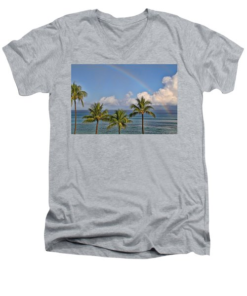 Hawaii Rainbow Men's V-Neck T-Shirt by Peggy Collins
