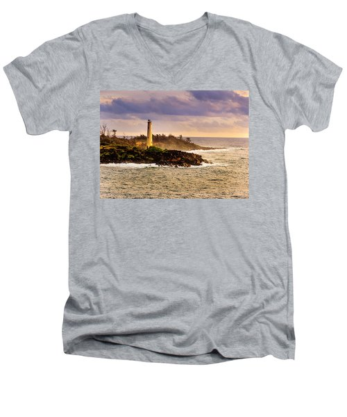 Hawaiian Lighthouse Men's V-Neck T-Shirt