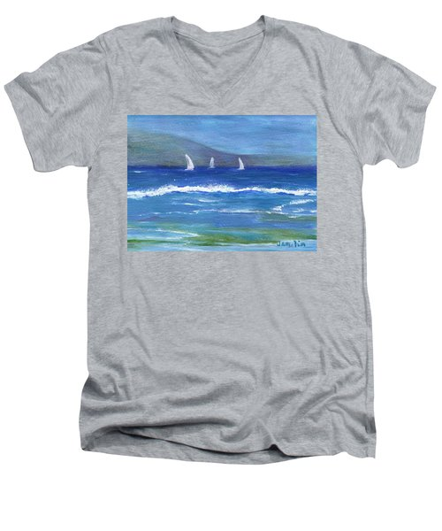 Men's V-Neck T-Shirt featuring the painting Hawaiian Sail by Jamie Frier
