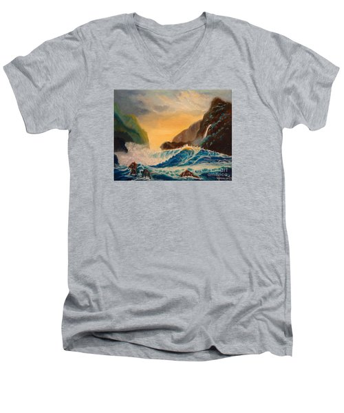 Men's V-Neck T-Shirt featuring the painting Hawaiian Turquoise Sunset   Copyright by Jenny Lee