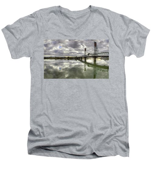 Hawthorne Bridge Over Willamette River Men's V-Neck T-Shirt