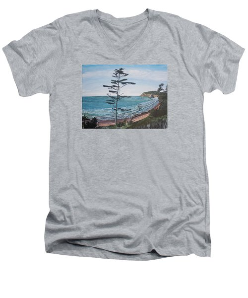 Men's V-Neck T-Shirt featuring the painting Hay Stack Rock From The South On The Oregon Coast by Ian Donley