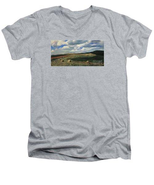Hayrolls On Swirl Field In Latrobe By Christopher Shellhammer Men's V-Neck T-Shirt