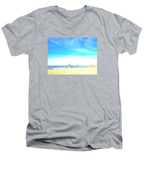 Men's V-Neck T-Shirt featuring the photograph Hb Pier 7 by Margie Amberge