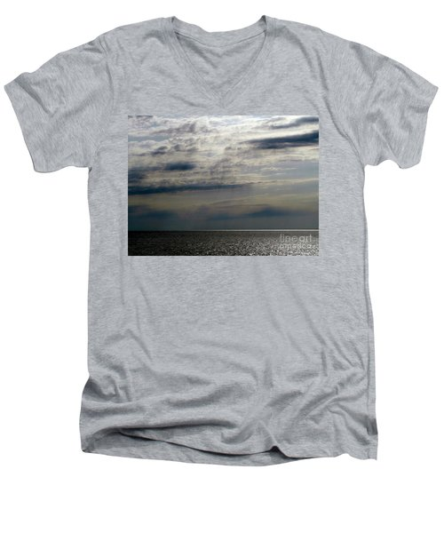 Hdr Storm Over The Water  Men's V-Neck T-Shirt by Joseph Baril