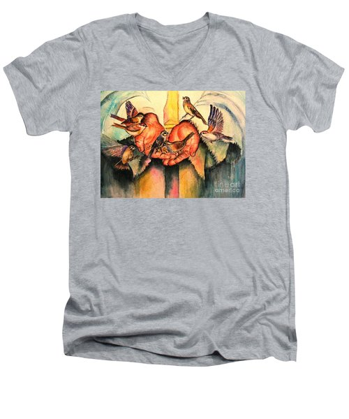 He Will Provide Men's V-Neck T-Shirt by Hazel Holland