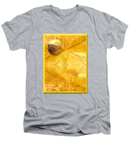 Men's V-Neck T-Shirt featuring the digital art Healing In Golden World by Ray Tapajna